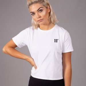 11 Degrees Logo Crop T-Shirt Valkoinen