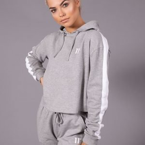 11 Degrees Panel Crop Hoodie Harmaa