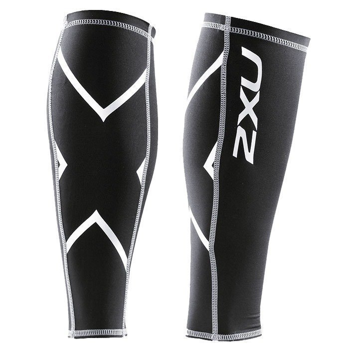 2XU Compressionession Calf Guard Black/silver logo XS
