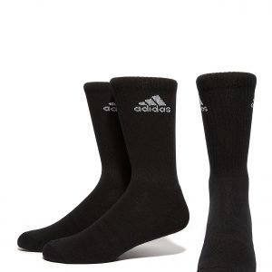 Adidas 3 Pack Crew Socks Musta