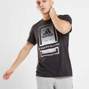 Adidas Box Fade Logo T-Shirt Musta
