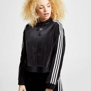 Adidas Originals 3-Stripes Velvet Crop Overhead Huppari Musta