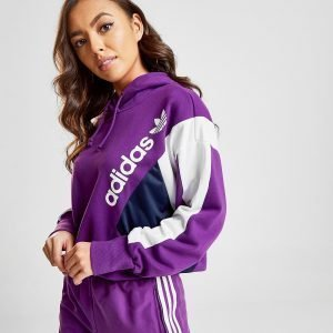 Adidas Originals 90'S Colour Block Crop Hoodie Violetti