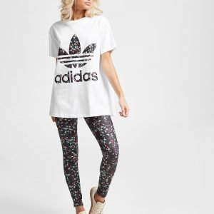 Adidas Originals Floral All Over Print Leggings Musta
