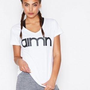 Aim'n Logo T-Shirt Lyhythihainen Treenipaita Valkoinen