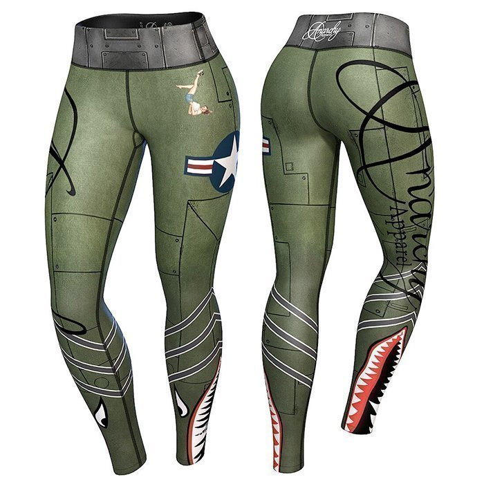 Anarchy Bomber Compression Leggings Green/Gray XS