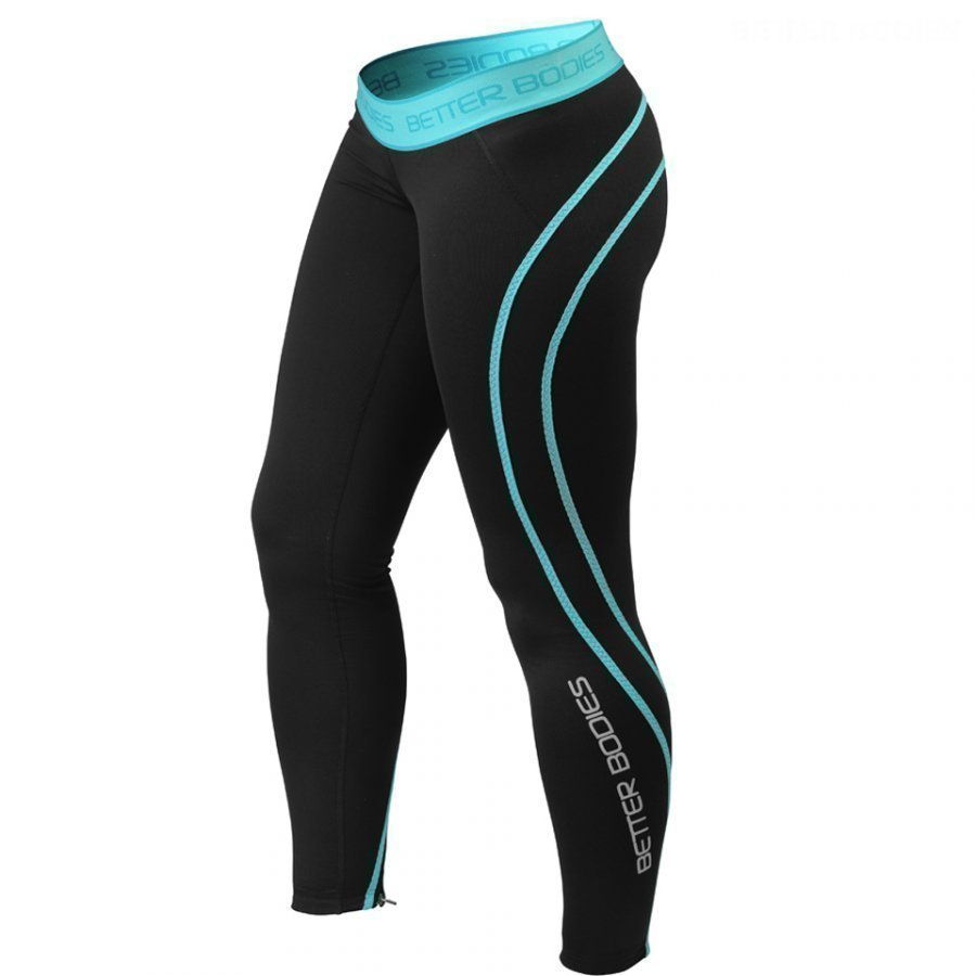 Better Bodies Athlete Tights Black/Aqua L Black/Blue