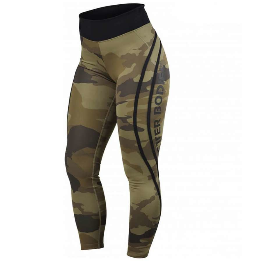 Better Bodies Camo High Tights Dark Green Camo XS Vihreä