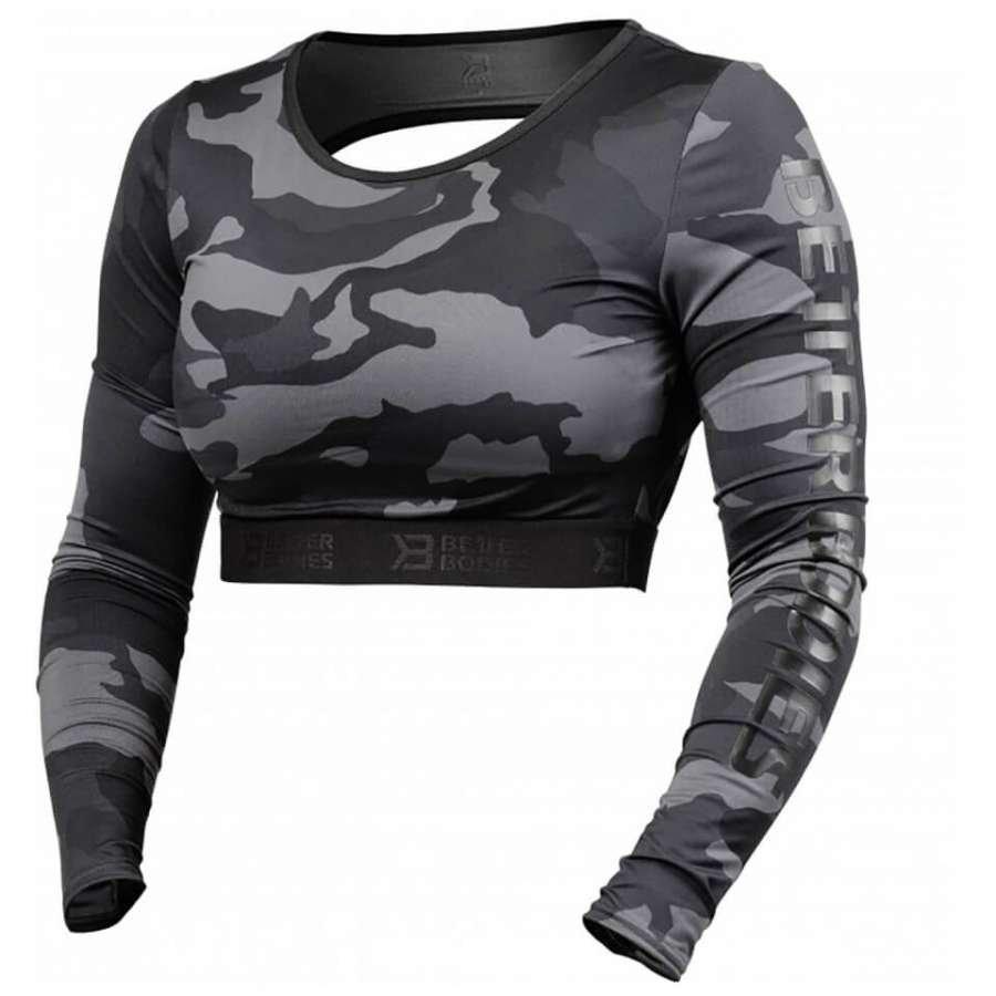 Better Bodies Chelsea Cropped Long Sleeve Sweatshirt Dark Camo M Vihreä