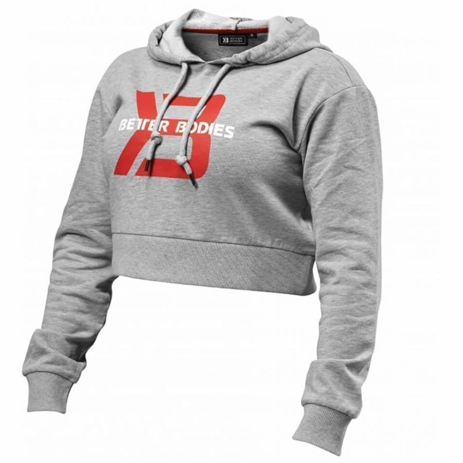 Better Bodies Cropped Hoody Grey Melnage M Harmaa