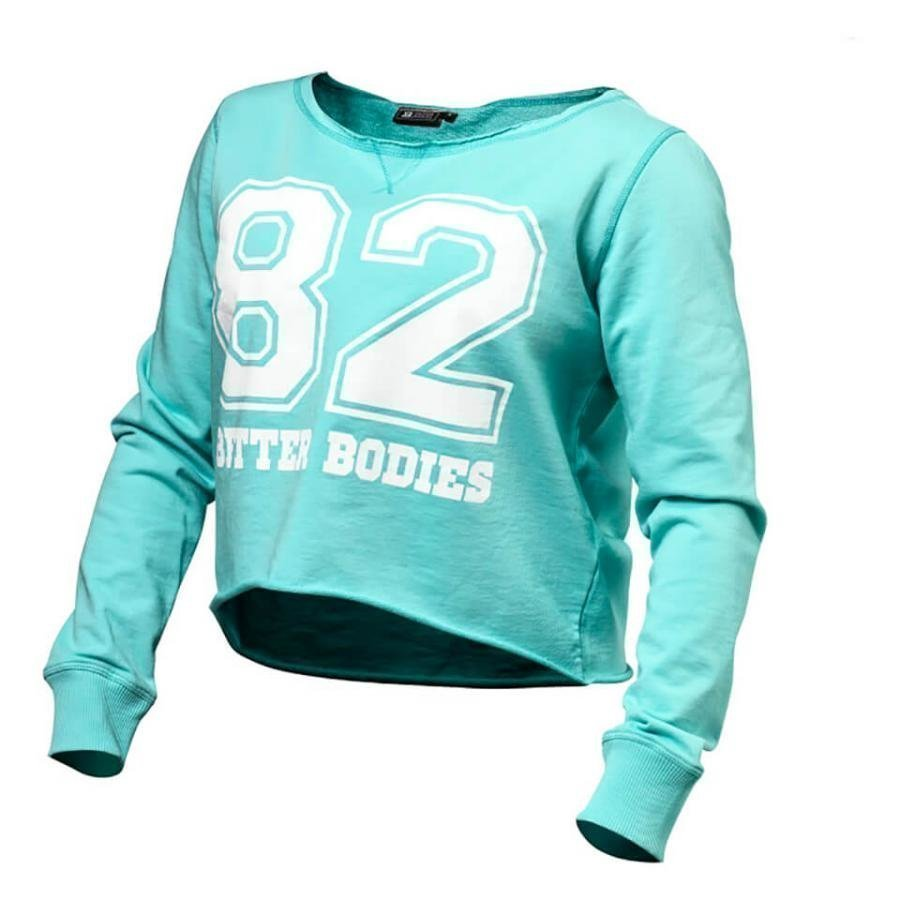 Better Bodies Cropped Sweater Lught Aqua XS Sininen