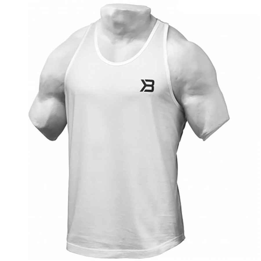 Better Bodies Essential T-Back Vest White XL Valkoinen