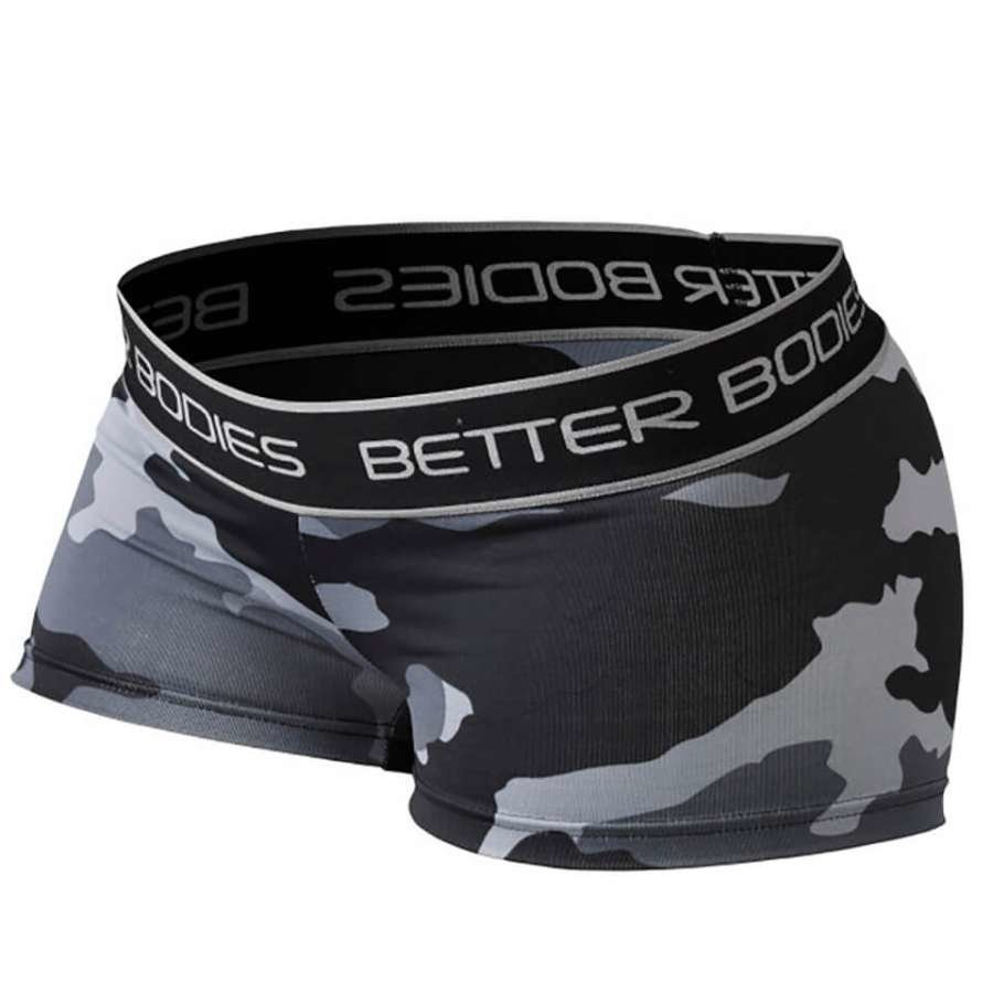 Better Bodies Fitness Hot Pants Grey Camoprint M Harmaa