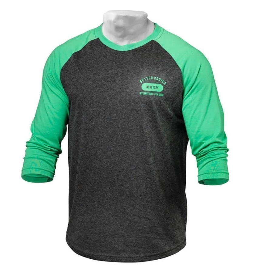 Better Bodies Men's Baseball T-Shirt Green/Antracite L Green/Grey