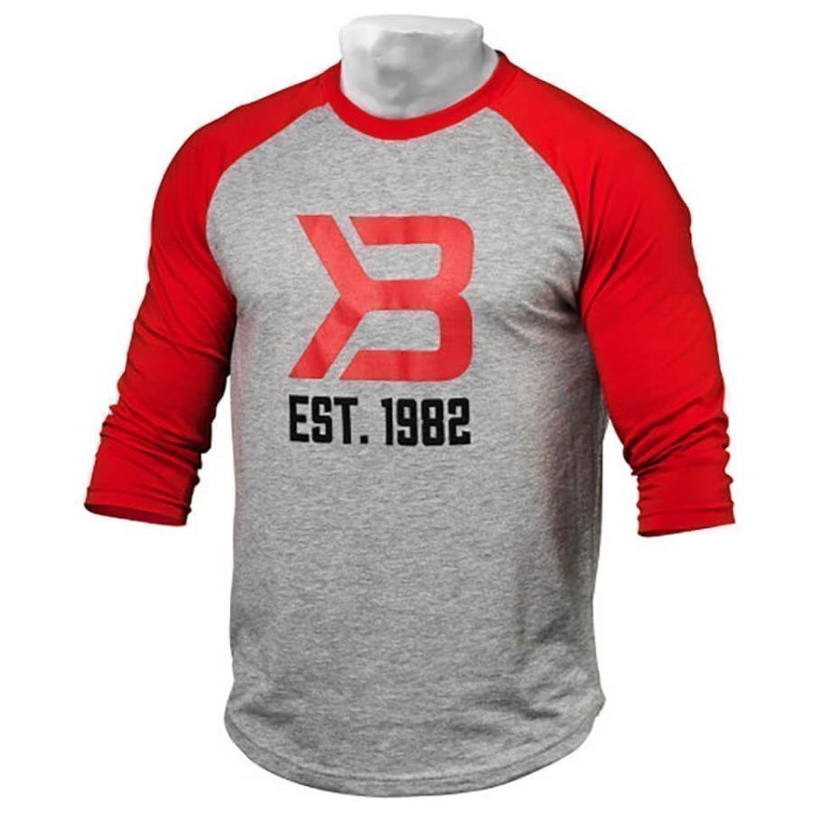 Better Bodies Men's Baseball T-Shirt Red/Grey L Red/Grey