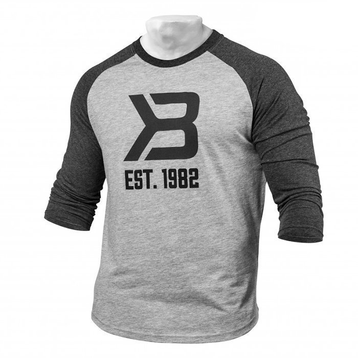 Better Bodies Men's Baseball Tee Grey Melange/Antracite Medium