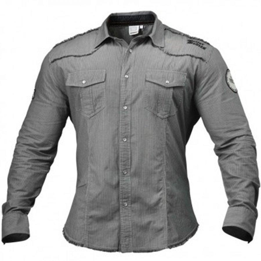 Better Bodies Men's Flex Shirt Grey/White Stripe M Grey/White