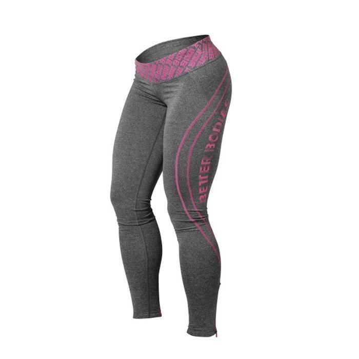 Better Bodies Shaped Logo Tights anthracite melange/pink L