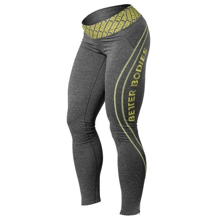 Better Bodies Shaped Logo Tights anthracite/lime L