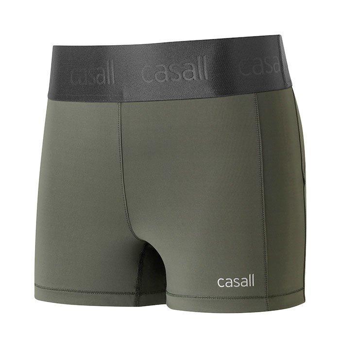 Casall Shiny Waist Short Tights Pro Khaki 38