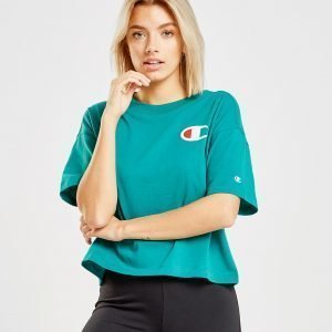 Champion Big C Logo Crop T-Shirt Teal