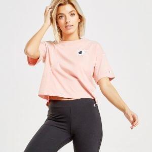Champion Big C Logo Crop T-Shirt Vaaleanpunainen