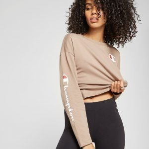 Champion Long Sleeve Crop T-Paita Ruskea