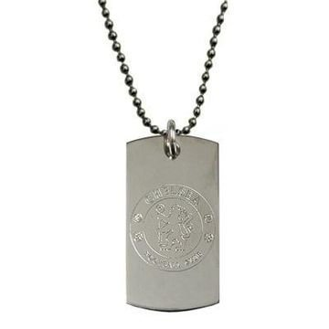 Chelsea Engraved Crest Dog Tag & Chain