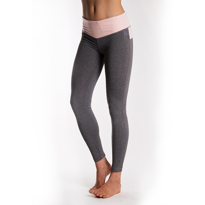 Drop of Mindfulness BOW II Tights Grey melange/Pink X-small