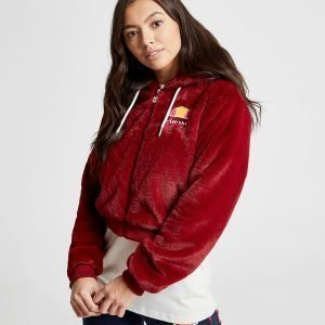 Ellesse Anne-Marie Faux Fur Crop Full Zip Jacket Punainen