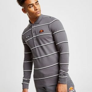 Ellesse Maffio Stripe Long Sleeve Polo Shirt Harmaa