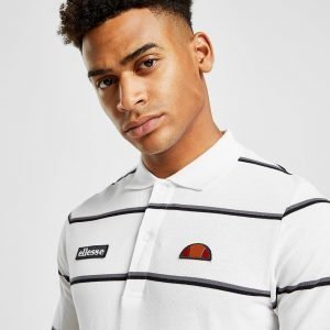 Ellesse Maffio Stripe Long Sleeve Polo Shirt Valkoinen