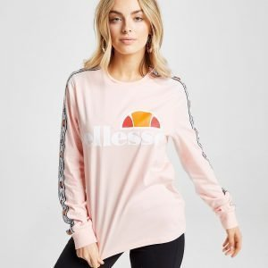 Ellesse Tape Long Sleeve Boyfriend T-Shirt Vaaleanpunainen