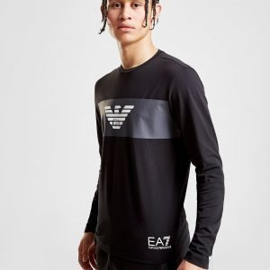 Emporio Armani Ea7 Eagle Strip Long Sleeve T-Shirt Musta