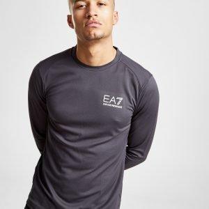Emporio Armani Ea7 Long Sleeve Poly Pique T-Shirt Harmaa