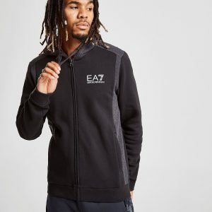 Emporio Armani Ea7 Zip Through Side Block Hoodie Musta