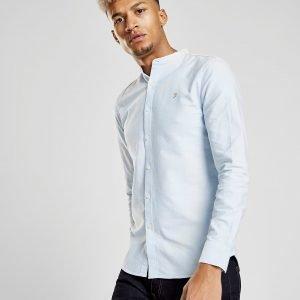 Farah Brewer Grandad Long Sleeve Shirt Sininen