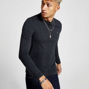 Farah Long Sleeve Denny T-Shirt Harmaa