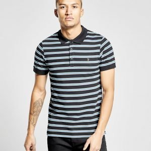 Farah Short Sleeve Stripe Polo Shirt Musta