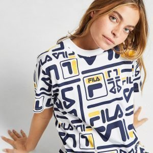 Fila All Over Print Boyfriend T-Shirt Valkoinen