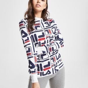 Fila All Over Print Long Sleeve Boyfriend T-Shirt Valkoinen
