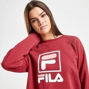 Fila Box Logo Crew Sweatshirt Burgundy / White