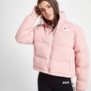 Fila Logo Crop Puffer Jacket Vaaleanpunainen
