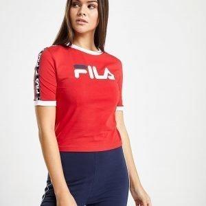 Fila Tape Crop Ringer T-Shirt Punainen