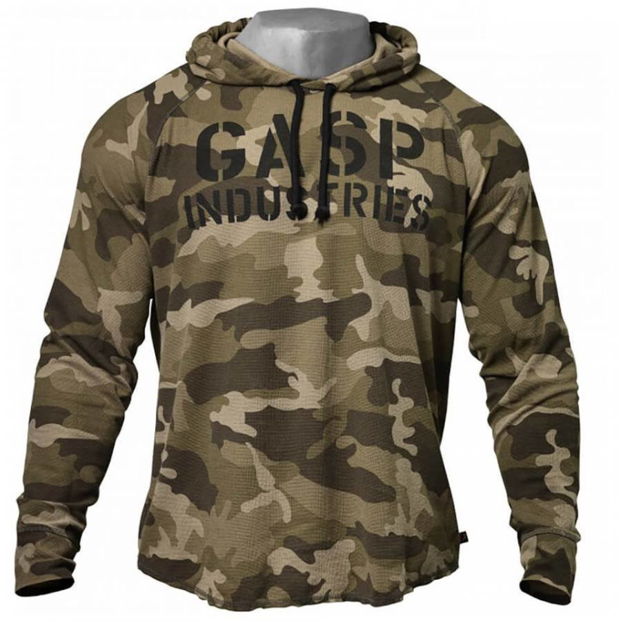 GASP Long Sleeve Thermal Hoody Green Camoprint M Vihreä