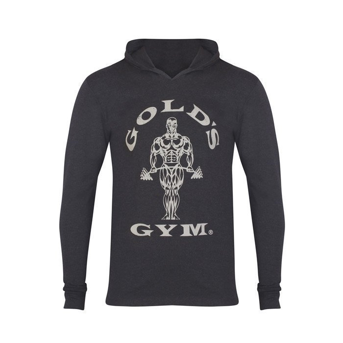 Gold's Gym LS Hood Top Black Marl L