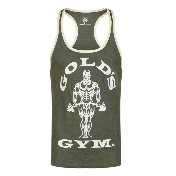 Gold's Gym Muscle Joe Contrast Stringer army/cream XL