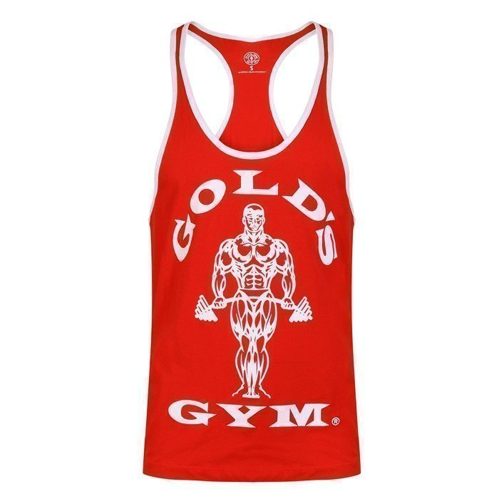 Gold's Gym Muscle Joe Contrast Stringer red/white L