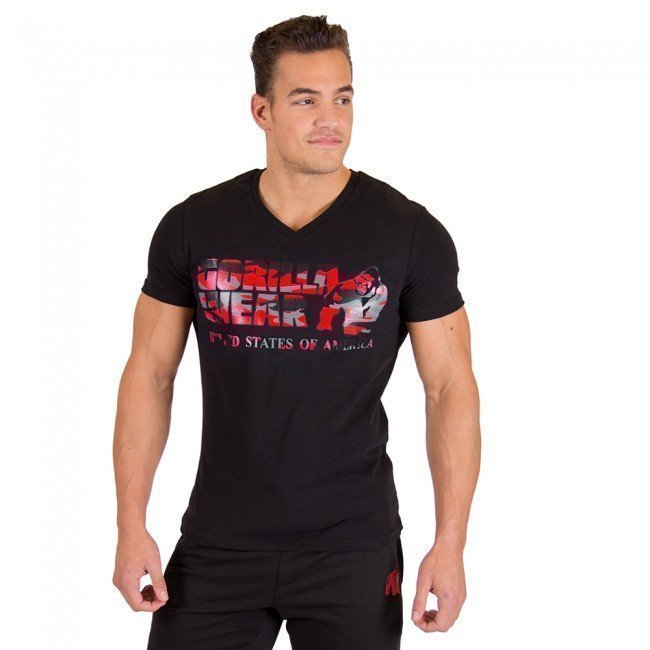 Gorilla Wear Sacramento V-Neck Tee Black/Red XXL