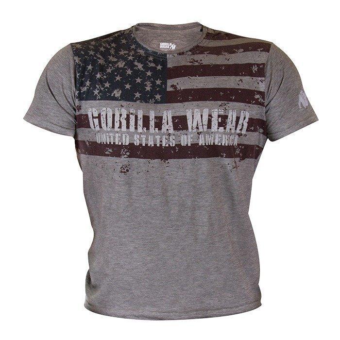Gorilla Wear USA Flag Tee grey melange